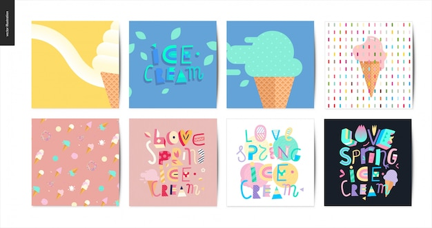 Love spring ice cream lettering set