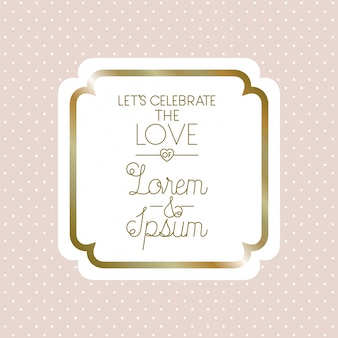 Love square frame decoration