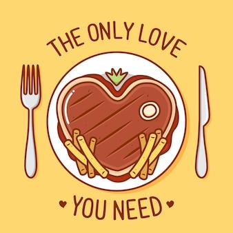 Love steak illustration with cutlery