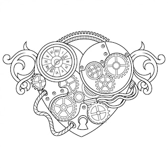 Love steampunk illustration lineal style Premium Vector