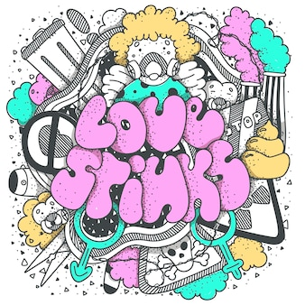 Love stinks text lettering. drawn art sign. sarcastic valentine card design.