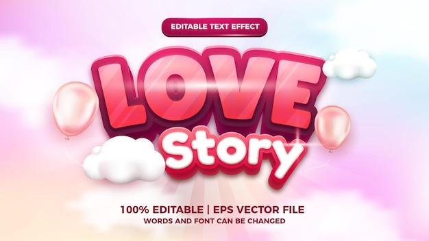 История любви 3 редактируемый текстовый эффект мультяшный комикс в стиле игры