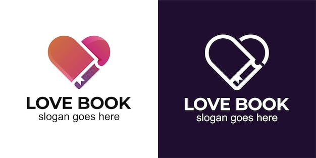 Love story book with love for library, book store, romantic novel and love reading book logo design