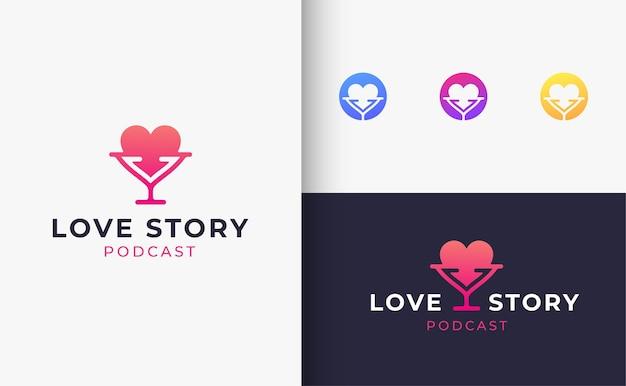 러브 스토리 팟 캐스트 로고 디자인