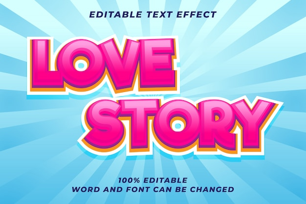 Love story text style effect premium