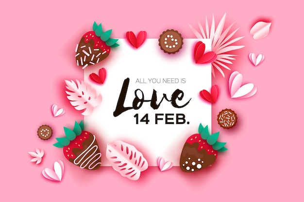 Love strawberry and chocolate valentines day greeting card hearts and tropical leaves paper cut