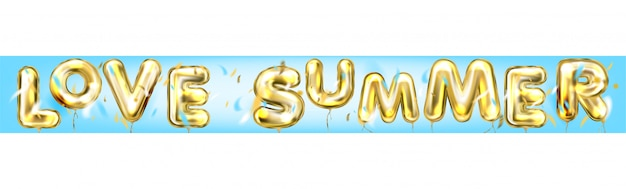 Love summer disco poster by foil balloons in blue air