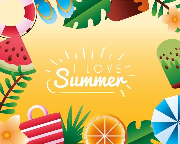 Люблю летний сезон надписи с элементами вокруг дизайна векторной иллюстрации пляжа