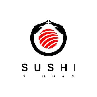 Любовь суши логотип с символом обнимая рука