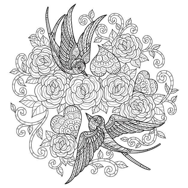 The love of the swallow. hand drawn sketch illustration for adult coloring book.
