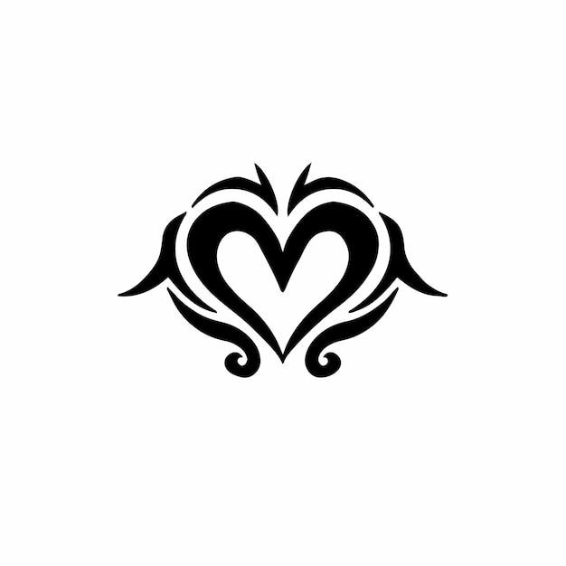 Love symbol logo tribal tattoo design stencil vector illustration