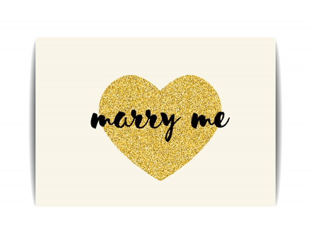 Love template with gold glitter heart and marry me text