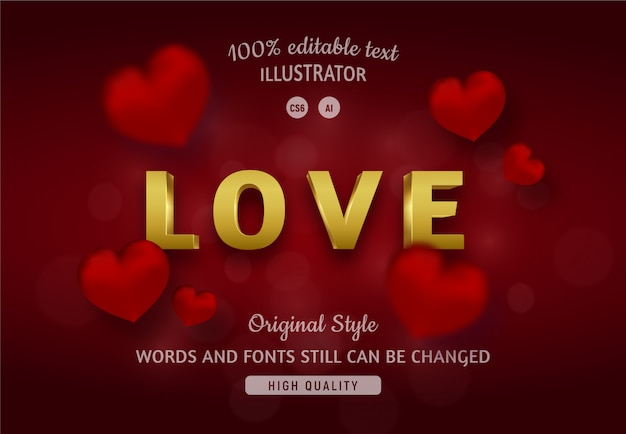 Love text golden color with red hearts.