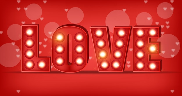 Love text in lights