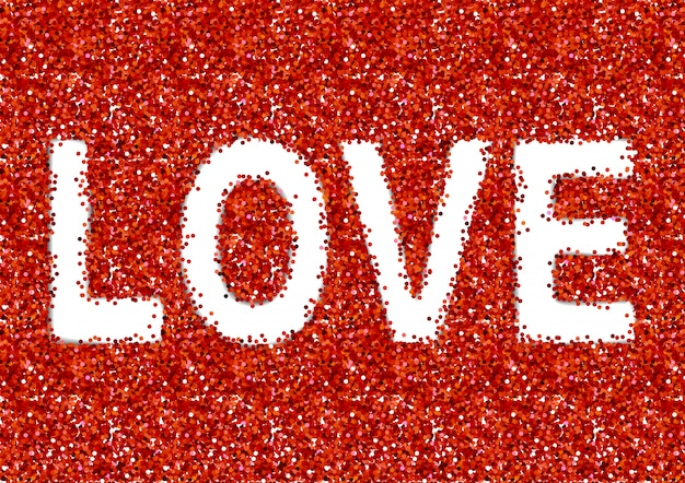 Love text on red sparkles background