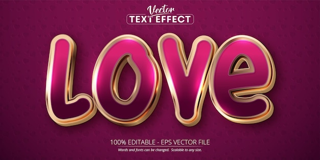 Love text, shiny rose gold color style editable text effect on pink background