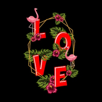 Love text with floral background