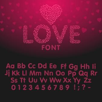 하트 문자와 숫자로 알파벳을 사랑