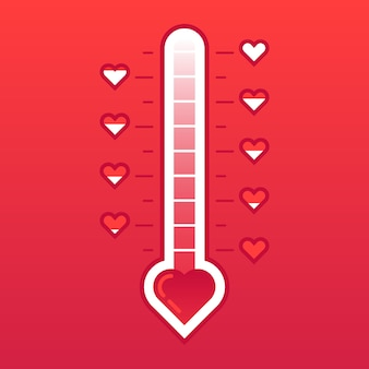 Love thermometer. hot or frozen heart temperature counter valentines card. love level meter
