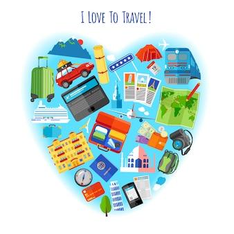 사랑 개념 아이콘 포스터 여행