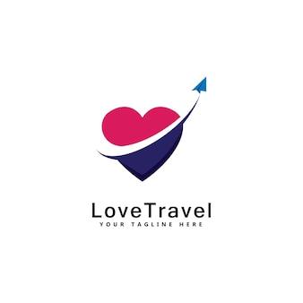사랑 여행 로고 템플릿 디자인 벡터 상징 디자인 컨셉 크리에이 티브 기호 아이콘