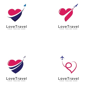 愛旅行ロゴテンプレートデザインベクトルエンブレムデザインコンセプトクリエイティブシンボルアイコン