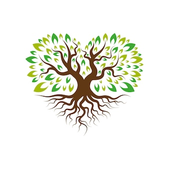Love tree with root logo template