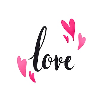 Love typography decorated with hearts vector