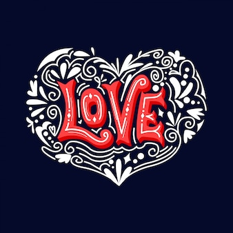 Love typography vector ornament