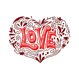 Love typography vector ornament