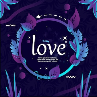 Love typowriter with circle and leaf vector illustration