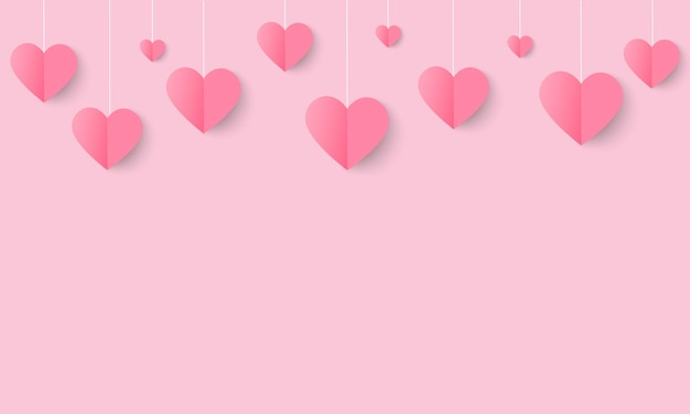 Love and valentine day background with origami hanging  heart.