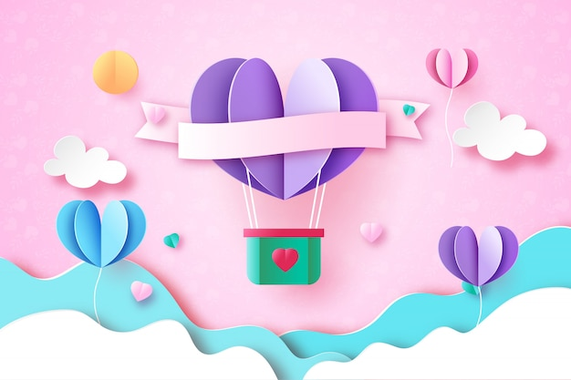 Love and valentine day greeting card paper art style