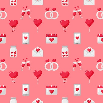 Love and valentine icons set seamless pattern isolated on pink