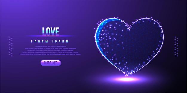 Любовь, валентинка низкополигональная каркасная, многоугольный дизайн