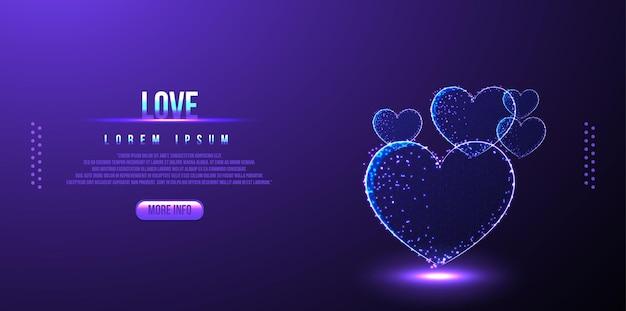 Love, valentine low poly wireframe, polygonal design