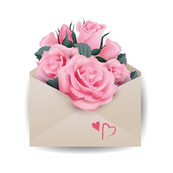 Love or valentine's day concept.pink beautiful roses in envelope the template vector.