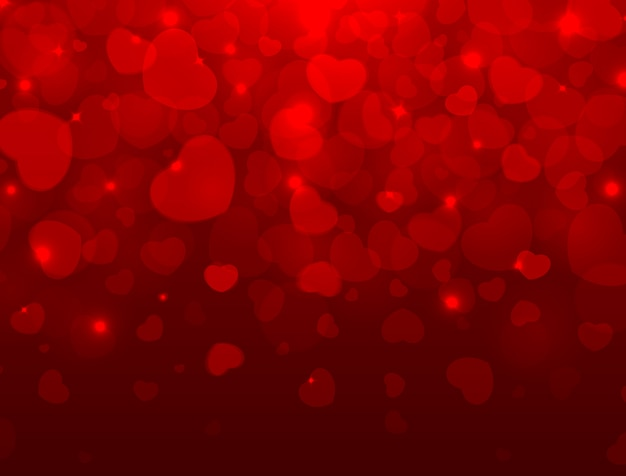 Love and valentine's day light background with red hearts and space for text