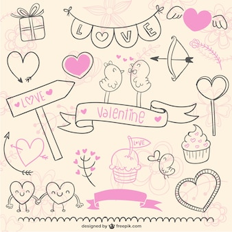 Love and valentine scribbles pack