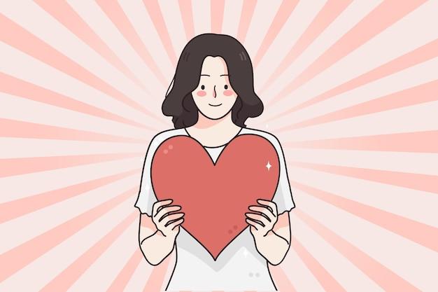 사랑 발렌타인과 심장 개념