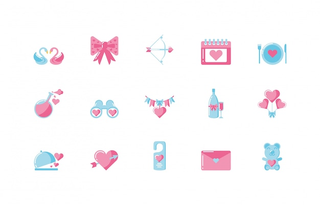 Love and valentines day icon set