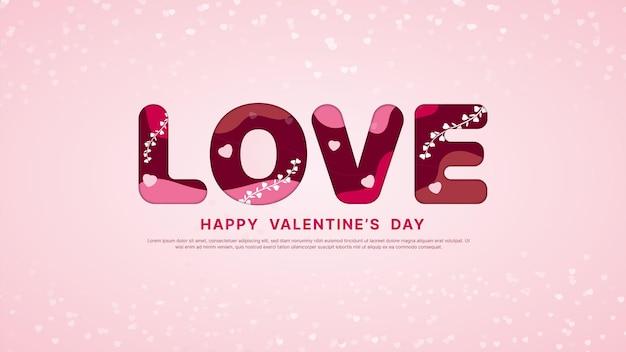 ピンクの背景とバレンタインデーが大好き