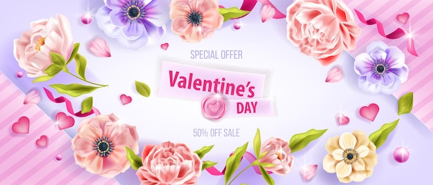 Love vector valentines day sale background with anemone flowers, leaves, peonies, hearts, petals. greeting holiday romantic special offer flat lay floral banner. valentines day top view background