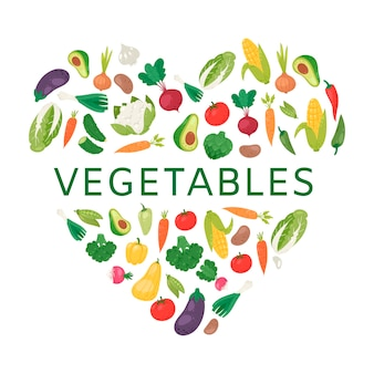 Love to vegetables illustration.
