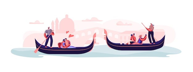 Love in venice. happy loving couples sitting in gondolas with gondoliers floating at canal concept illustration
