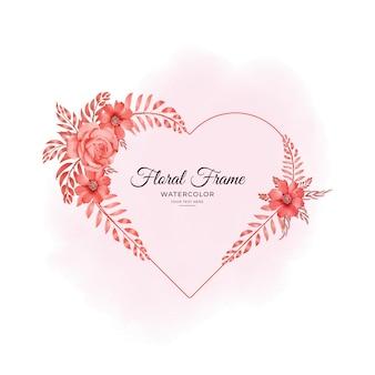 Любовь акварель цветочная рамка дизайн в формате премиум вектор