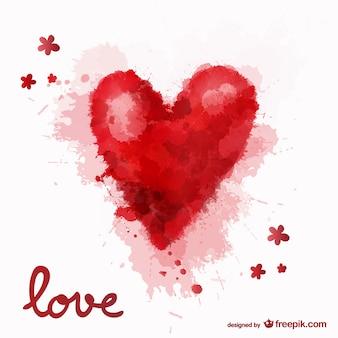 Любовь акварель сердце фон