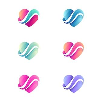 Шаблон логотипа love wave