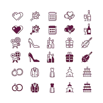 Love and wedding icons isolated - linear and silhouette love icon