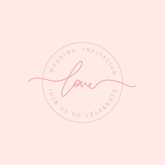 Love wedding invitation badge design vector